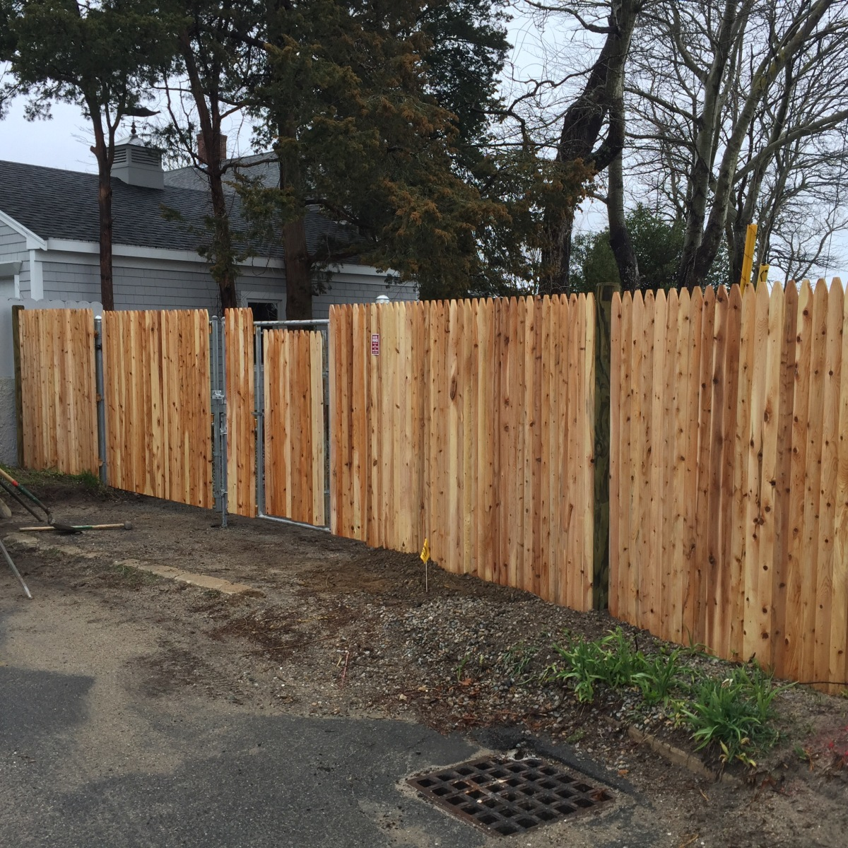 Stockade On Steel Gate In Onset Abs Fence Inc
